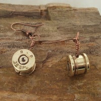 Bullet Earrings Dangling 38 SPL by ShellsNStuff on Etsy