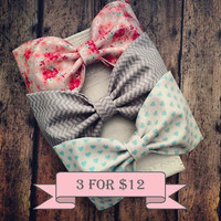 Coral mint floral khaki chevron ivory heart fabric hair bows pinup preppy