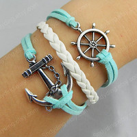 jewelry Anchor &amp; Rudder Bracelet Antique Silver Bracelet Wax Cords and Imitation Leather Bracelet Best Chosen Gift