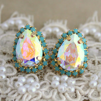 Blue and shiny white Crystal big teardrop stud earring - 14k plated gold post earrings real swarovski rhinestones.