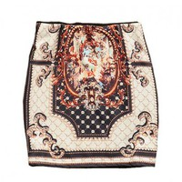 Ethnic Body-con Skirt with Baroque Palace Print
