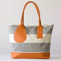 Stripe shoulder bag , purse in cotton canvas and orange leather - Kallisto bag