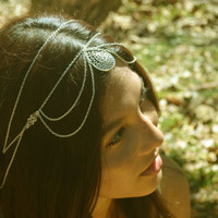 Chain Headpiece Headband Hair Piece Bohemian  Hipster Boho Hippie Silver Floral Drop Drape Jewelry Bridal