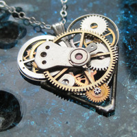 Heart Necklace &quot;Deep&quot; Clockwork Gears Heart Steampunk Necklace Clockwork Love Sculpture by A Mechanical Mind Mother&#x27;s Day