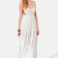 Snowy Meadow Crocheted Ivory Maxi Dress