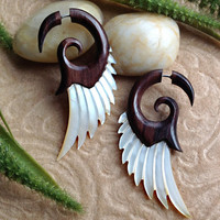 Fake Gauge Earrings, &quot;Forest Fairy Wings&quot; Hand Carved, Sono Wood, Mother of Pearl, Naturally Organic