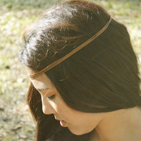 Headpiece Headband  Hair Piece Bohemian Hipster Boho Hippie Brown Cotton Cord Faux Leather
