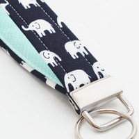 Key Fob, Wristlet Keychain, White Elephants, Black and Mint