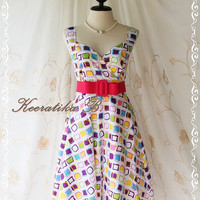 Sound Of Summer II - Sweet Elegant Spring Summer Sundress Geometric Painting Print Sleeveless Style Party Beach Tropical Season Dress