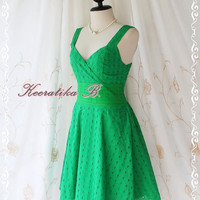 Sound Of Summer II - Sweet Elegant Spring Summer Lacy Sundress Fresh Green Color Thick Cotton Lace Party Wedding Cocktail Dress
