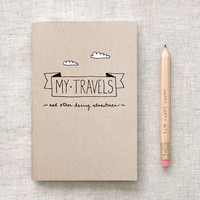Travel Journal & Pencil Set, Recycled Pocket Size Notebook - My Travels and Daring Adventures - Brown White Clouds