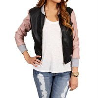 Black Color Block Faux Leather Jacket