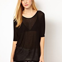 Selected Tecca Oversized Tee in 1x1 Rib Jersey at asos.com