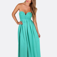Green maxi dress with sweetheart lace bodice