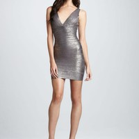 V-Neck Grey Silver Printed Bandage Dress H413
