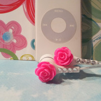 Sweet Best sellers  Hot Pink Rose Earbuds with Swarovski  crystals are back in stock
