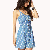 Polka Dot Chambray Dress