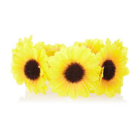 Yellow sunflower bun top hair band