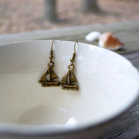 Sailboat  Earrings - Nautical - Beach -  Summer - Boat - Ocean - Antique Bronze - Gifts Under 10 - For Her - Under 25