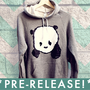 Baby Panda Hoodie Sweater  Zinc Heather Grey  Unisex by steppie