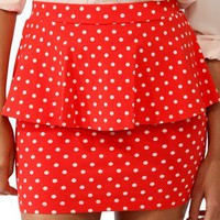 Polka Dot Peplum Miniskirt | FOREVER 21 - 2031557810