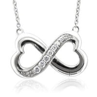 Sterling Silver Infinity Heart 7 Stone Diamond Pendant Necklace (GH, I1-I2, 0.25 carat): Diamond Delight: Jewelry