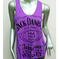 Jack Daniel's Tennessee Whiskey Old Time T-Shirt Women shirt Tank Top vest sleeveless shirt screen Rock Punk classic Purple S23 Size S M