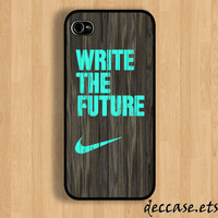 IPHONE 5 CASE NIKE mint write the future wood colored  Wooden iPhone 4 case iPhone 4S case iPhone case Hard Plastic Case Soft Rubber Case