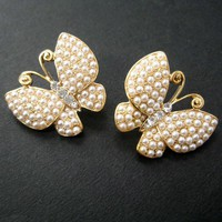 SALE - Large Butterfly Pearl Stud Post Earrings in Gold