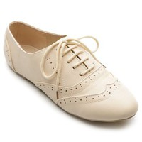 Ollio Women`s Classic Dress Oxfords Low Flats Heels Lace Up Multi-Color Shoes: Shoes