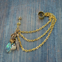 brass mermaid abalone  ear cuff with chains mermaid abalone shells in boho gypsy hippie hipster  beach  resort and fantasy style