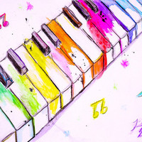 Watercolor Piano Keys Art Print by Trinity Bennett | Society6