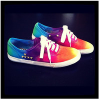RAINBOW VANS SALE Studded Rainbow Tie Dye Vans