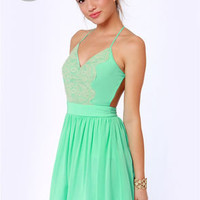 LULUS Exclusive Just Dance Backless Mint Green Lace Dress