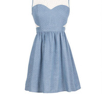 Pin Dot Lace Inset Chambray