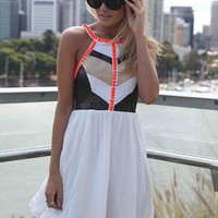 White Embellished High Neckline Dress