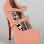 Qupid Penelope-04 Nubuck Mary Jane Platform Pump