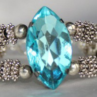 Beautiful Aqua Crystal and Tibetan Silver Beaded 2 Strand Bracelet