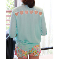 Cut-out Heart Back Middle-length Sleeves Chiffon Shirt