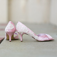 Wedding Heels - Light Pink Wedding Shoes, Pink Bridal Shoes with Ivory Lace. US Size 9