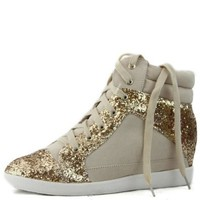 Amazon.com: Qupid Patrol-18 Lace Up Wedge Heel Sneakers: Shoes