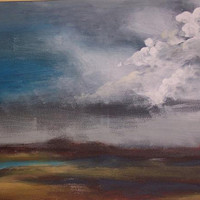 Storm Clouds Marshes Painting Summer Landscape Stormy by earthluv