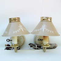 Mid Century Lighting, Toleware Lamps,  Industrial Chic, Metal Sconce,  Pair Wall Lamps / Beige / Off White