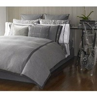 Michael Kors Bedding Nob Hill Gray Herringbone King Duvet 3 Piece Set includes Shams