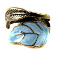 Vintage Style Women`s Elegant Enamel Unique Leaves Ring: Jewelry
