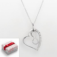 Sterling Silver 1/10-ct. T.W. Diamond Heart and Infinity Pendant