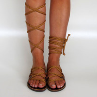 "NEW Lace up Sandals, handmade, Unique design with braided bronze straps  ""APHRODITE"" AS35  All sizes Available"