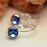 Blue Rivoli Set Leverback Earrings in Silver