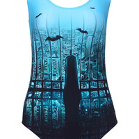 ROMWE | Batman Poster Print Swimsuit, The Latest Street Fashion