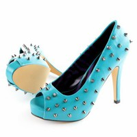 Abbey Dawn WTH Studded Platform Heel - Turquoise